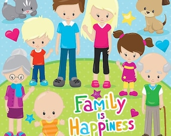 80% OFF SALE Happy family clipart commercial use, grandparents, vector graphics, digital clip art, digital images - CL853