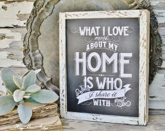 What I Love Most About My Home Chalkboard Farmhouse Sign Wood Frame Chippy White Farmhouse  Decor Fixer Upper Decor