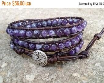 SUMMER SALE amethyst leather wrap bracelet triple wrap chakra bracelet celtic eternal knot button dark brown leather boho bracelet