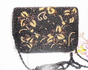 Beaded Evening Bag, Black Evening Bag, Black Beaded Bag, Black Copper Gold, Vintage Evening Bag EB-0549