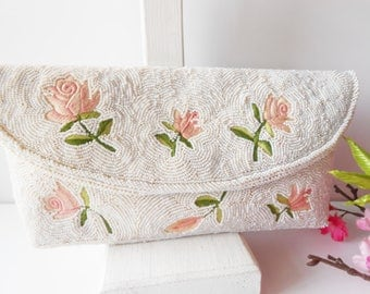 White Evening Bag, Vintage Evening Bag, White Beaded Bag, Embroidery Bag, Beaded Clutch Bag, White Bead Clutch EB-0226