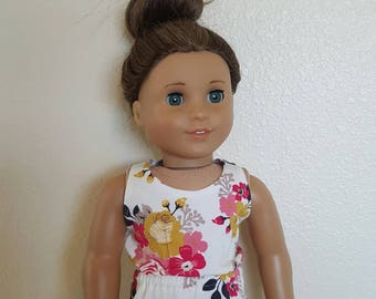 Romper for 18 inch dolls by The Glam Doll - Cream and Gold Floral