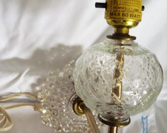 Vintage clear Glass Electric Wall lamp or sconce no globe
