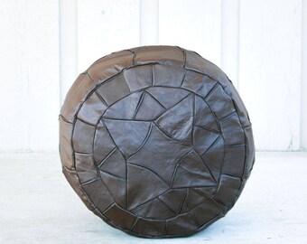 Brown Egyptian Handmade Genuine Leather Ottoman Pouf