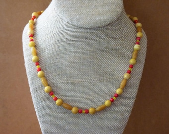 Yellow Marble and Yellow 'Jade' Stones/Gemstones and Vintage Czech Glass Beads OOAK Necklace by MtnGlen - 'Sleek Cedar Waxwing'