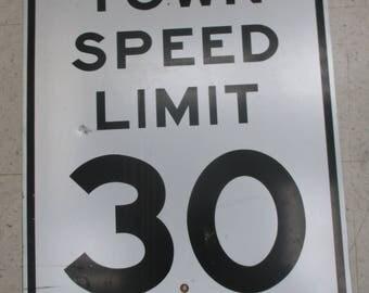 Vintage Speed Limit 30 Road Street Highway Sign