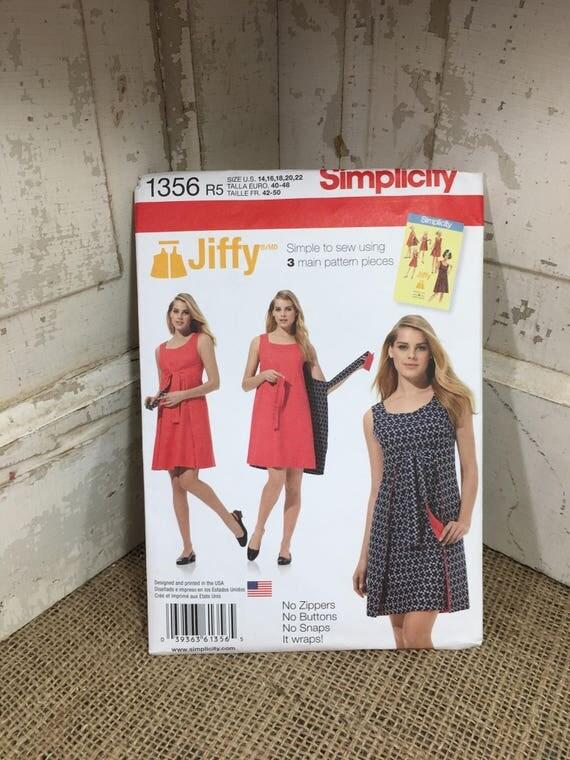 Simplicity Jiffy from 2014, Jiffy pattern 1356, reversible wrap dress pattern, uncut size 14-22 sewing pattern, 2014 Jiffy pattern