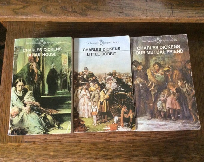 Vintage Charles Dickens The Penguin English library, Bleak House, Little Dorrit, Our Mutual Friend, 1980's Penguin English Library books