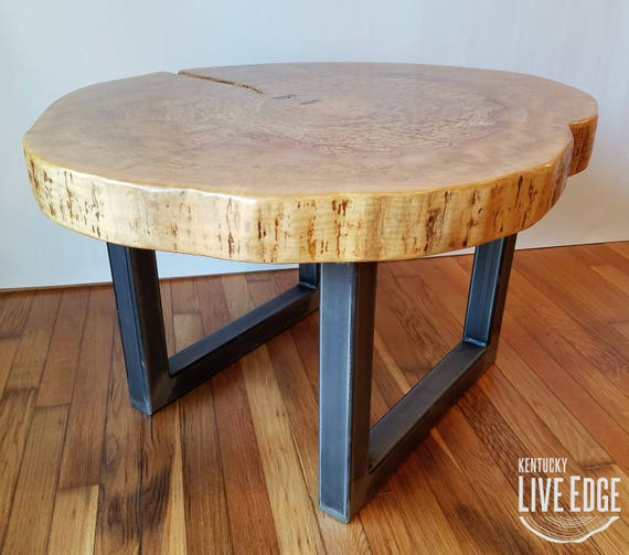 Table Round Industrial Coffee Table Gratifying Ballard: Round Coffee Table Live Edge Industrial Tree Slice Log