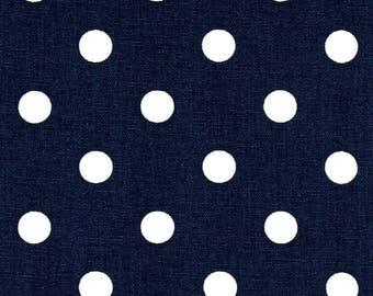 Handmade Table Runner 12W x 36L, in Navy Blue /White Polka Dot, Home Decor,Nursery Ready To Ship
