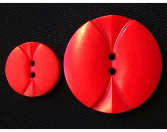 Mother Daughter Pair of Vintage Red Buttons, item 412