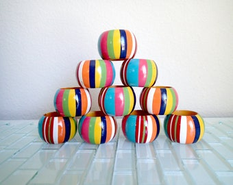Rainbow Wood Napkin Holders - 10 napkin rings