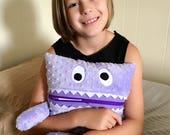 Pajama Eater -  Monster Pillow - Worry Eater - Pajama Bag - Secret Keeper - Secret Stasher - Plush Toy - Girl Gift - Lavender