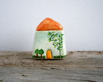 Miniature clay house, tiny cottage, rustic home decor, shelf decor, tiny home decor, housewarming gift, handpainted, quirky home decor