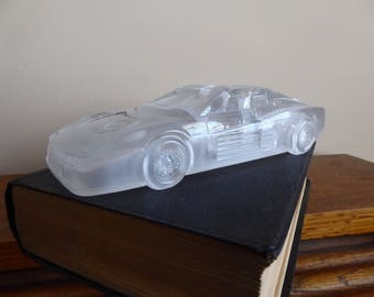 Vintage Hofbauer Crystal Ferrari 348 Crystal Glass Paperweight Made in W. Germany