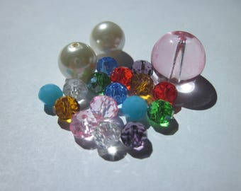 multicolored glass 6-13 mm (Y21) 19 beads