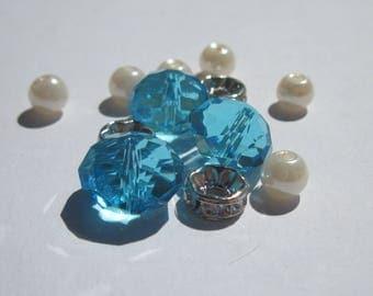 9 round glass beads and 3 (PV5-33) rhinestone rondelles