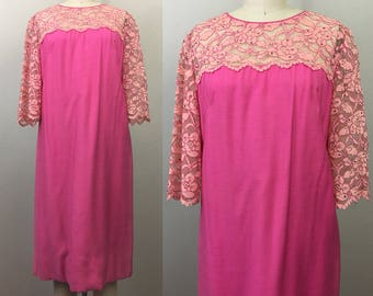Vintage 60s MOD Pink and LACE Rhinestone Shift Dress M/L