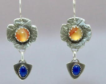 Orange and Blue Drop Earrings