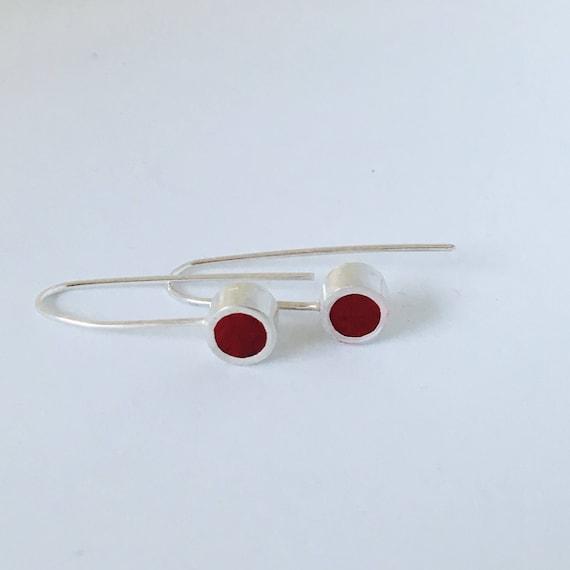Red resin Silver drop earrings