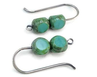 Sterling Silver-filled teal green Picasso finish Czech Glass earrings