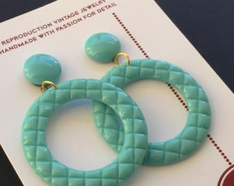 "vintage reproduction of vintage hoop earrings - made from ""fab-a-lite"" resin"