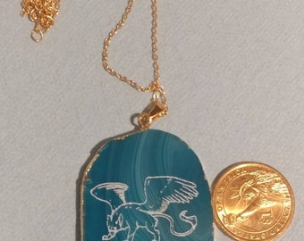 Agate slice Griffin / gryphon pendant necklace