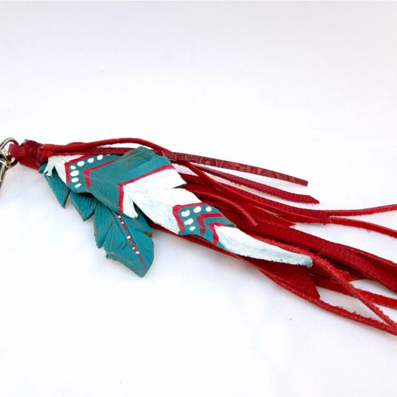 Leather Feather Key Chain in Red, White and Blue