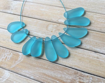 10 pc Freeform SeaGlass Nugget pendants Top Drilled Turquoise Bay Cultured Seaglass 8mmx10mm-16mmx21mm