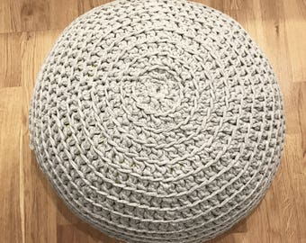 Light Grey Pouf | Crochet Pouf | Floor cushion | Pouf Ottoman | Footstool | Floor Pouf | Pouffe | Bean Bag | Nursery Decor | Round pouf
