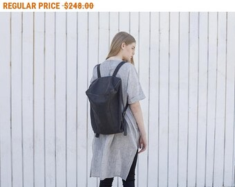 Sale, Lou Leather Backpack, Large Travel Backpack, Computer Rucksack, Large Women Backpack, Satchel - Cloudy Black Lou