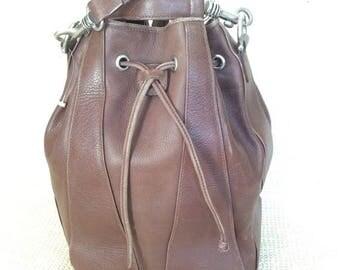 20% OFF SUMMER SALE Vintage Cole Haan brown leather drawstring bucket shoulder bag