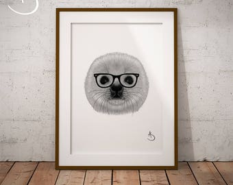 HIPSTER SEAL Print, Seal decor, Hipster Baby Seal Print, Printable Poster, Printable, Seal Prints, Seal Art, Black and White, Hipster Animal