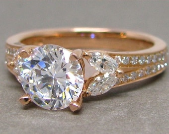 Forever One 7mm Round Moissanite Marquise Diamond Engagement Ring 18k Rose Gold Colorless