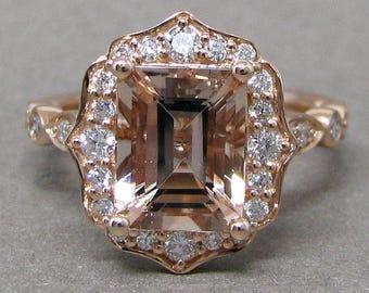 Emerald 9x7mm Morganite Scallped Diamond Engagement Ring 14k Rose Gold Wedding Bridal Ring Round Diamonds
