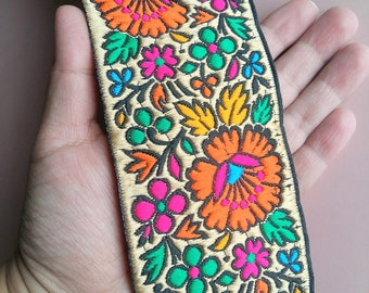 Black Fabric Trim With Beige, Orange, Pink, Blue And Green Floral Embroidery, 66mm wide - 200317L342