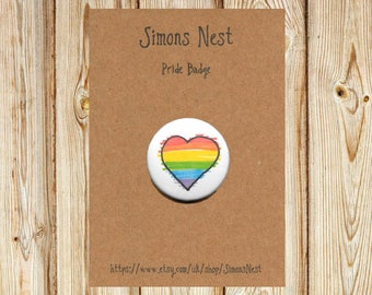"Gay Pride Rainbow Heart Badge - LGBT 25mm 1"" Button Pin Badge - Hand Drawn LGBTQ Rainbow Love Heart Flag Accessory"