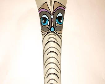 Painted palm frond wall art elephant