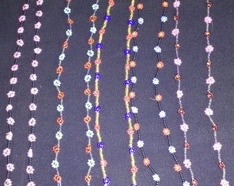 Daisy Chain necklaces, different colors.