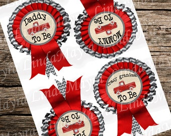 Rustic Vintage red truck Baby Shower name tags