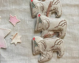 Machine Embroidered Party Bear Ornaments, Set of 3, READY TO SHIP, Sachets