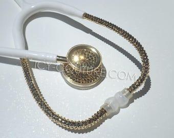 White Stethoscope 24K GOLD Swarovski Crystals