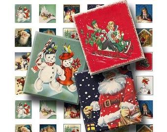 SALE- Vintage Christmas - Digital Collage Sheet   - .75 x .83 Scrabble Size - INSTANT DOWNLOAD