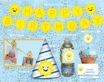 Printable DIY Kit Sunshine Birthday Party Decorations, Party Pack, Banner, Party Favor Tags, Sunshine Party Supplies, Sunshine 1st Birthday