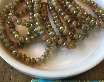 5x3 champagne rondelle mix czech beads, beige, tan, bronze luster