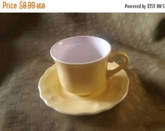On Sale Federalist Ironstone Buttercup Yellow Cup Saucer  Made in Japan Serving Set