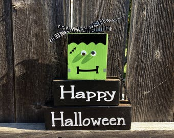 Happy Halloween wood stacker blocks--Frankenstein blocks, Halloween blocks