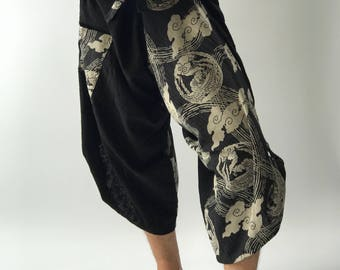 SR0121 Samurai Pants Harem pants have fisherman pants style wrap around waist