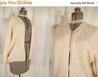 Vintage 1950s Sweater - Beaded Cardigan, 50s White Wool Cardigan, XL Plus Size Cardigan