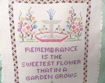 Remembrance sampler / vintage cross stitch linen sampler   unframed garden fountain sampler